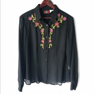 Tops - Vintage Sheer Black Embroidered Western Top Large